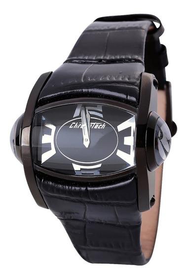 Relógio De Pulso Chronotech 3d - Aço Preto/couro Preto