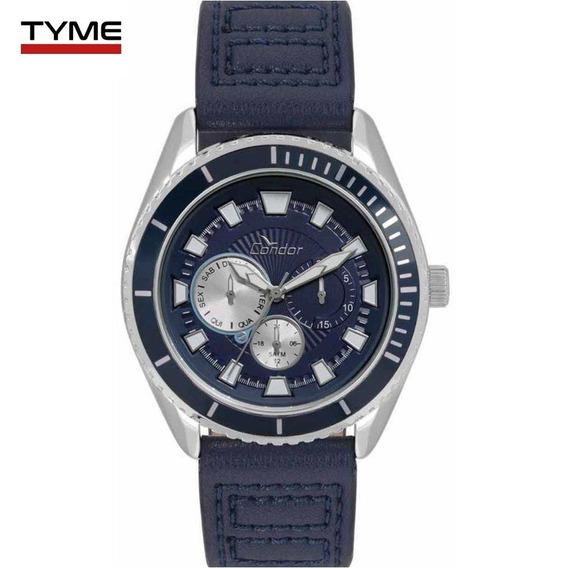 Relógio Condor Masculino Co6p29io/2a Couro Azul - C/ Nfe