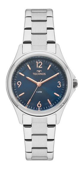 Relógio Feminino Technos Aço Prata Azul Original Barato
