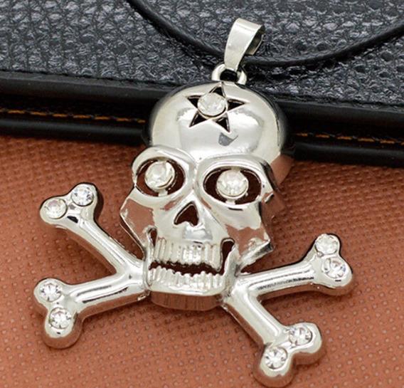Colar Caveira Pirata Prateado C/ Olho Diamante Para Fantasia