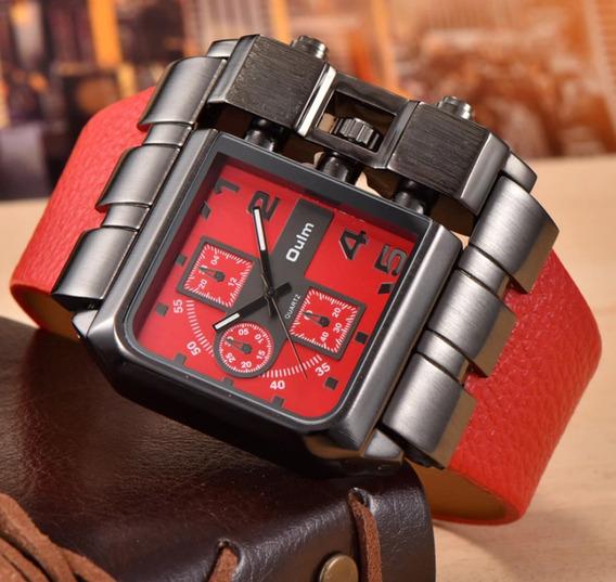 Relógio Masculino Rustico Aço Inoxidável Couro Vermelho Oulm