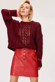 Suéter Feminino Amplo Cropped Lã Grosso Quente Manga Longa