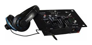 Mezcladora 3 Canales Bluetooth Usb Sd Con Audifonos Dj302u