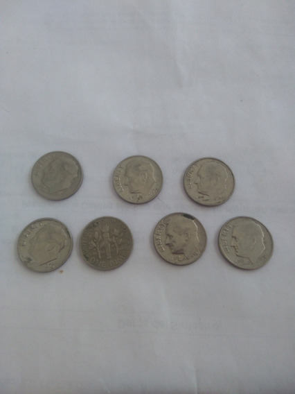 Monedas 10 Centavos Usa Lote X7
