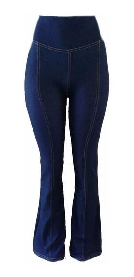 Calça Feminino Flare Jeans Imita Jeans Com Bolso Atrás