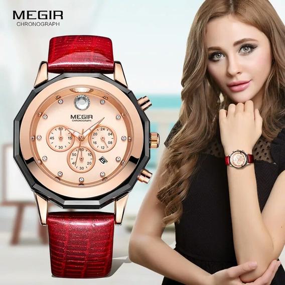 Relógio De Pulso Feminino Megir Luxo Pulseira De Couro