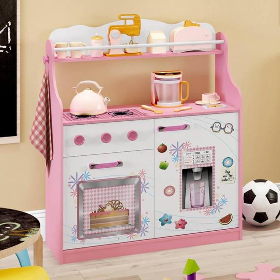 Cozinha Infantil 2 Portas 1 Gaveta Com Rodízios - Rosa/branc