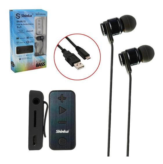 Fone De Ouvido Estéreo Bluetooth Sport 3 Em 1 Sh-bl12 Shinka