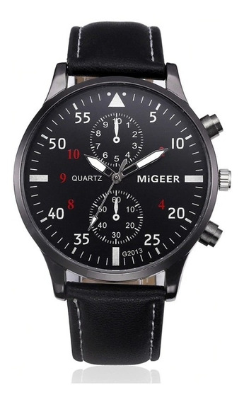 Relógio Masculino Pulseira De Couro Quartzo Social Militar Migeer 2013 Promoção