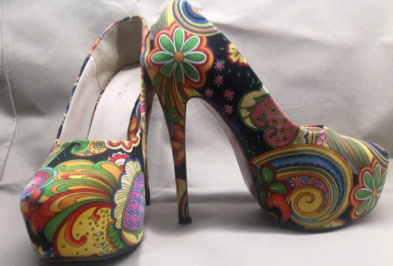 Zapatos Importados Arabescos Multicolor Talle 39 Chico