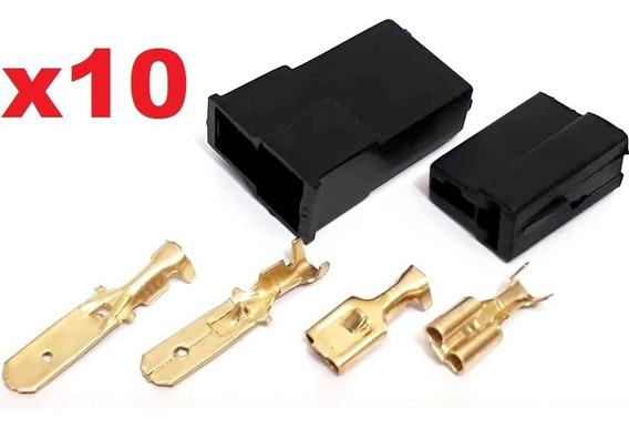 10 Conjunto Conector 2 Vias Plug Para Caixa (macho E Fêmea)