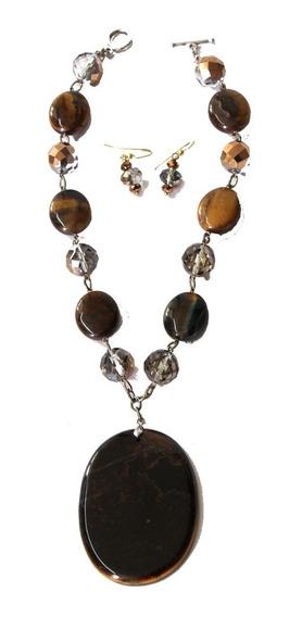 Elegante Collar Y Aretes Piedras Naturales Importado