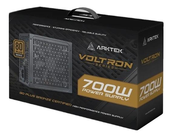 Fuente Pc Gamer Arktek 700w 80 Plus Bronce 120mm 4 X Pci 6+2