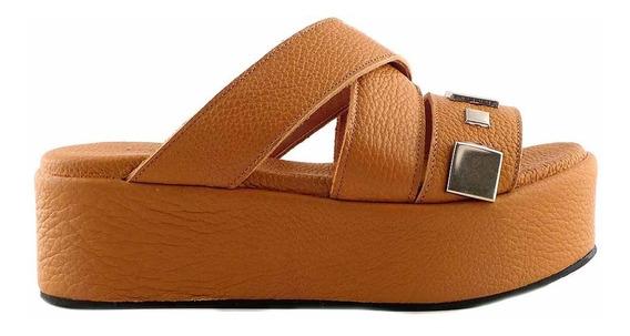Sandalia Chinela Cuero Mujer Briganti Zapato Moda Mcch26039