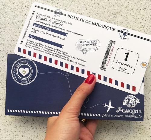 Imagem 1 de 2 de 50 Convite Ticket Viagem Bilhete Sem Envelope Frete Grátis