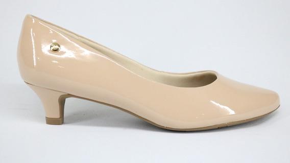 Sapato Scarpin Usaflex Couro Verniz Blush