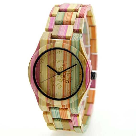 Relógio Madeira Bewell Original Colorido Unissex