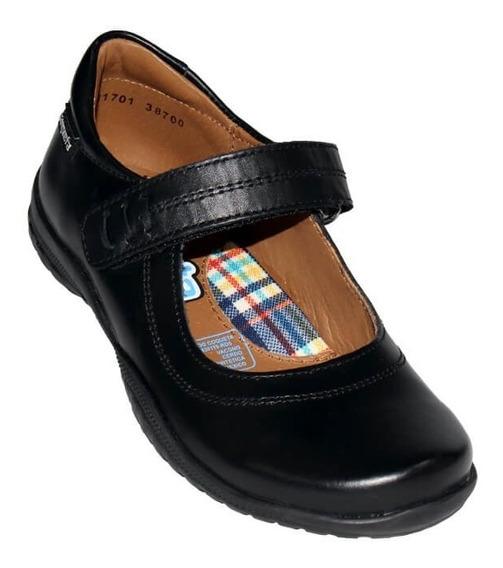 Zapato Escolar Niña Coqueta Piel Negro 38700
