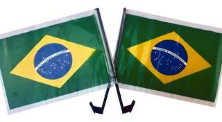 Kit Com 10 Bandeira Do Brasil Com Haste Para Vidro De Carro