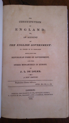 The Constitution Of England - English Government - De Lolme