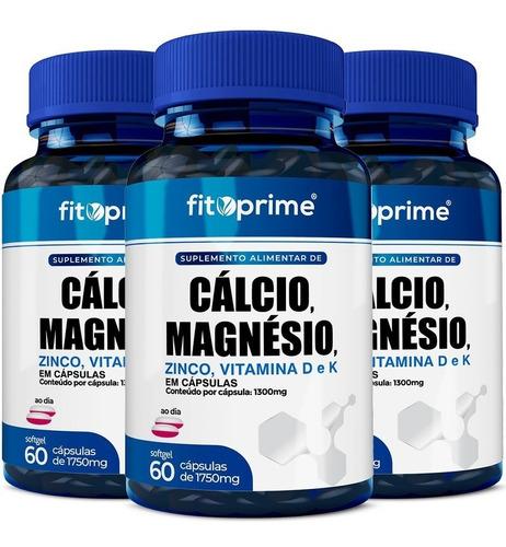 Imagem 1 de 3 de 3 Potes Cálcio Magnésio Zinco Vitaminas D3 K2 Com 60cps