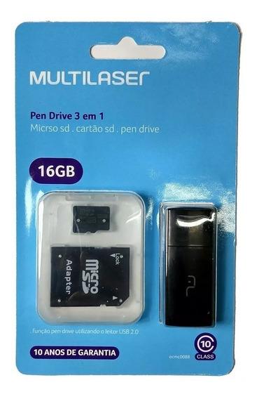 Cartão De Memória Multilaser Micro Sd Classe 10 3 Em 1 16gb
