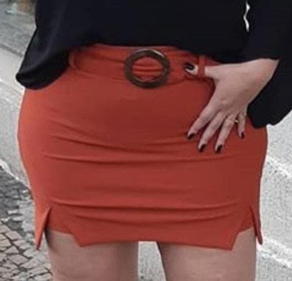 Saia No Terracota Com Shorts Por Dentro Não Marca P Veste 36