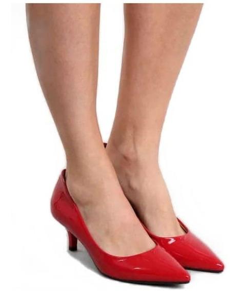 Sapato Scarpin Social Salto Médio 6,5 Varias Cores 33 Ao 39