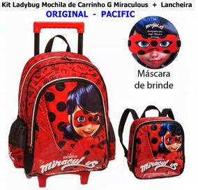 Kit Ladybug Mochila De Carrinho G Miraculous + Lancheira