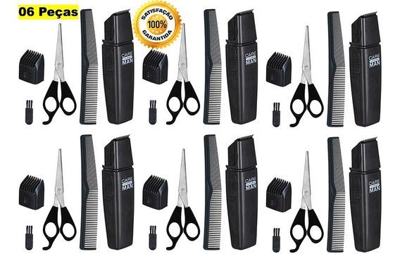 6 Maquininha Cortar Cabelo Aparar Barba Tesoura Pente Escova