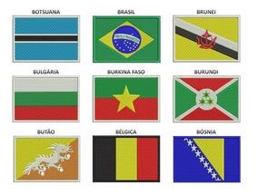 Kit 06 Patch Bordados Autocolantes Bandeira Paises