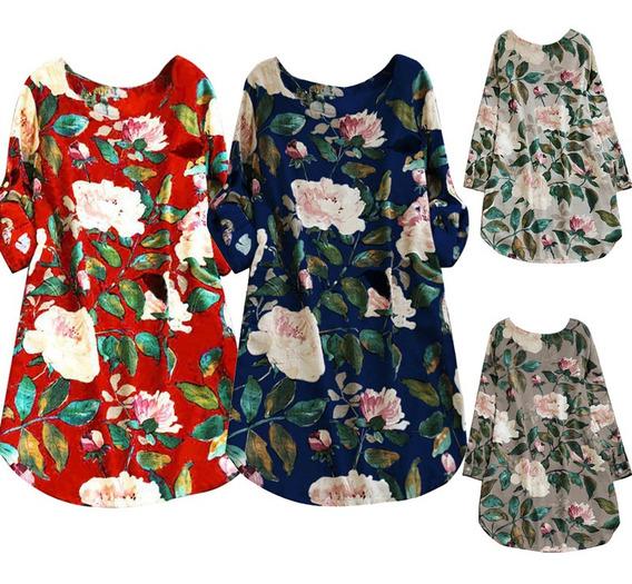 Vestido De Las Mujeres Colorido Estampado Floral Laminado