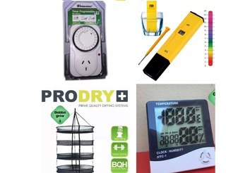 Prodry Red Secado Garden Highpro + Reloj Higrometro Htc-1 + Interelec Timer + Medidor Ph Digital Gabba Grow Olivos