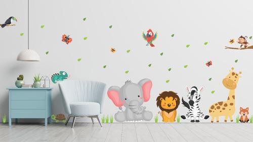 Imagen 1 de 3 de Vinilo Infantil Animales De La Selva Plancha 1mt X 60cm