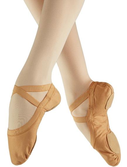 Zapatillas De Ballet Media Punta Lona Suela Partida Caramel