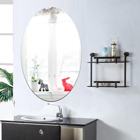 27x42cm Banheiro Ego Adesivo Removível Oval Espelho Parede A