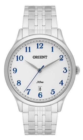 Relógio Orient Masculino Branco Aço Original Mbss1311 B2sx