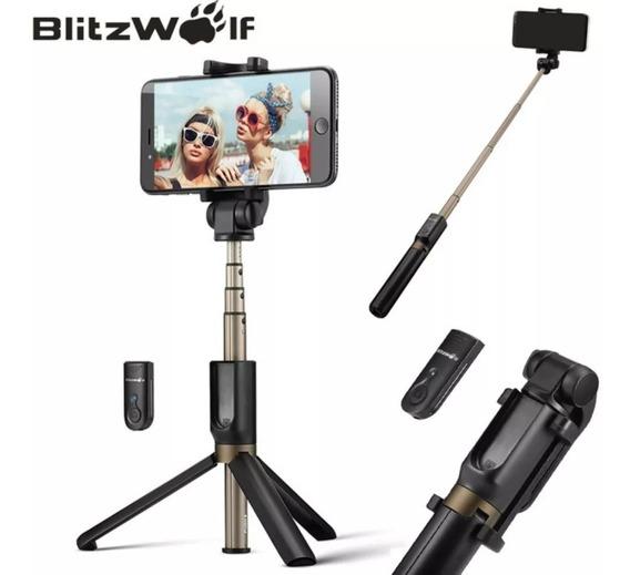 Pau Selfie Blitz Wolf Bs4 Com Tripé E Disparador Bluetooth