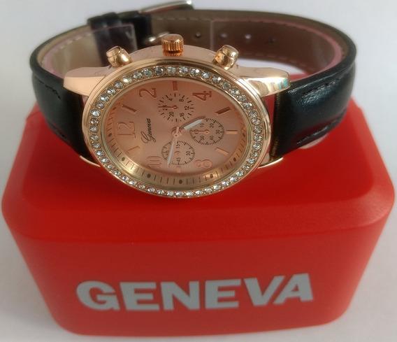 Relógio Feminino Geneva Rose Strass Couro Macio