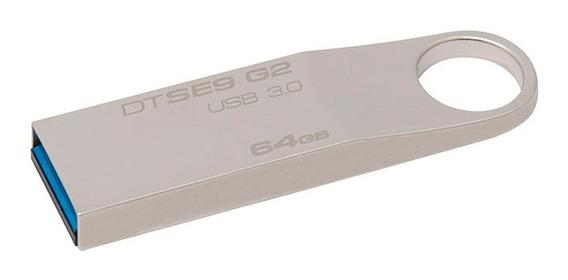 Pen Drive 64gb Usb 3.0 Kingston Dtse9g2/64gb Se9 G2 Prata