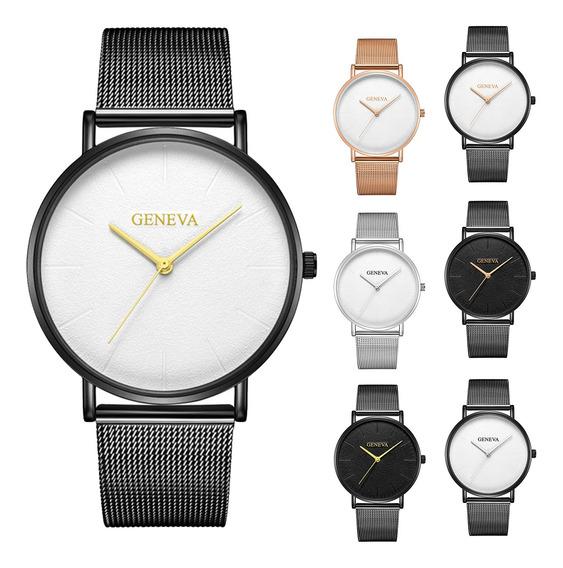 Moda Geneva Mens Relógio De Aço Inoxidável Quartzo Analó