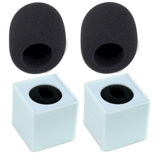 Kit 2 Canoplas Para Microfone Acrílico Cor Branca +2 Espumas