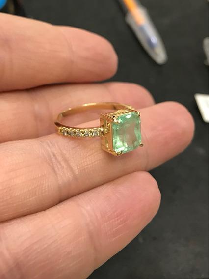 Anel Ouro 18k Pedra Esmeralda Colombiana Brilhante Diamante