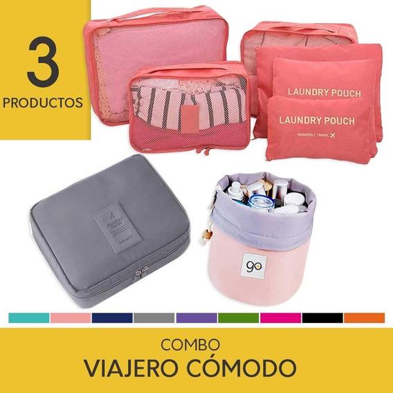 Combo Viaje: Organizador + Neceser + Porta Cosméticos Bolsos