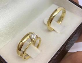 Par Alianças 4mm Casamento Noivado Cor Ouro Moedas Antigas