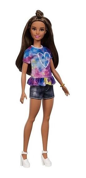 Barbie Fashionistas 112 Morena Com Bata Azul Mattel