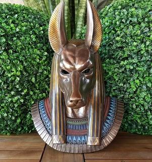 Mascara Dios Egipcio Anubis De Pared Con Baño De Bronce