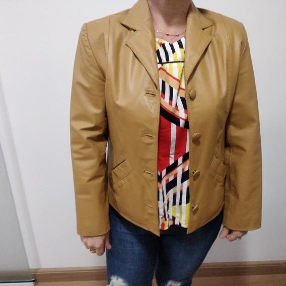 Casaco/blazer Em Couro Feminino (usado)