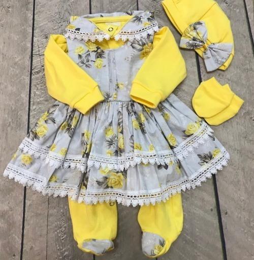 Saída De Maternidade Floral Menina Amarelo 5 Peças Caixa Mdf