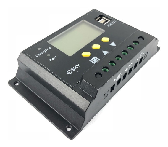 Controlador Carga Solar Inteligente 12/24v Lcd Display Usb